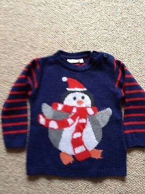 Jojo Maman Bebe boys or girls Christmas jumper 12-18 months VGC.