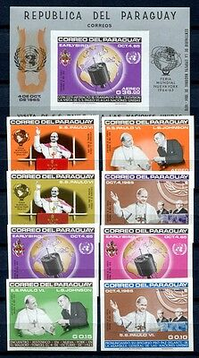 Paraguay 1965 Papst Paul VI. UNO Space Pope 1495 - 1502 + Block 76 ** MNH