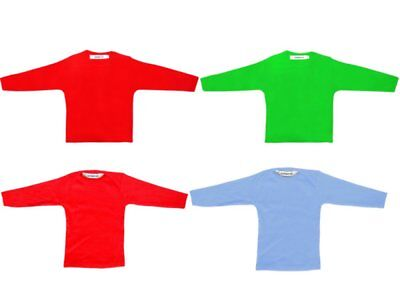 Long Sleeve Shirt For Kids Baby Boys Girl Blue Green Red Turquoise 100% Cotton