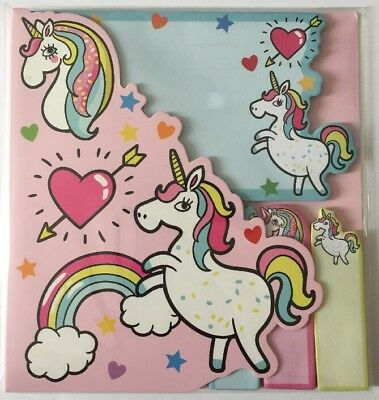 Cute Rainbow Unicorns Sticky Note and Page Tab / Marker Set Stationery