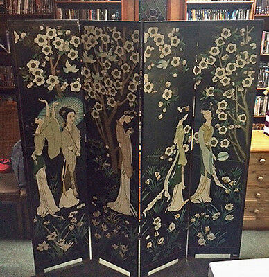Chinese 4 Panel Laquer Screen