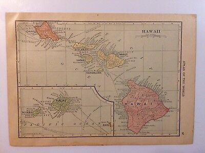 Antique Map of Hawaii 1912 - Old Atlas World Map Vintage