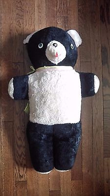 Large vintage black bear pink belly doll metal nose yellow ribbon teddy bear toy