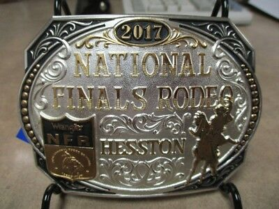 """2017 Hesston National Finals Rodeo 2 Toned Gold/Silver """"Adult"""" Belt Buckle NIP"""