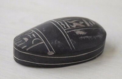 Vintage Collectible Egyptian Carved Stone Scarab Decorative Art - Handmade