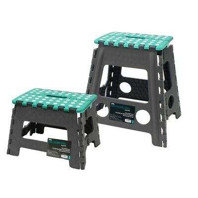 JVL Small and Large Folding Step Stool Set with Grip Dots, Teal or Lime