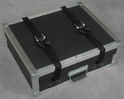 Hard tabletop tradeshow equipment display carrying case w/metal edges & handle