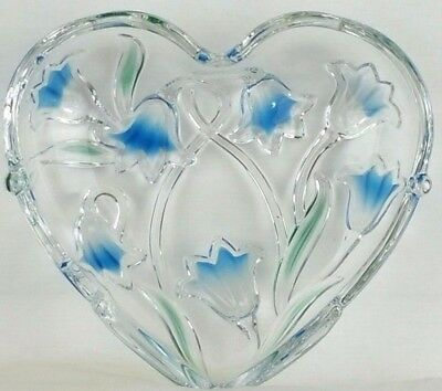 Heart Shaped Glass Dish with Beautiful Blue Flowers Tulips Holds Candy Jewelry