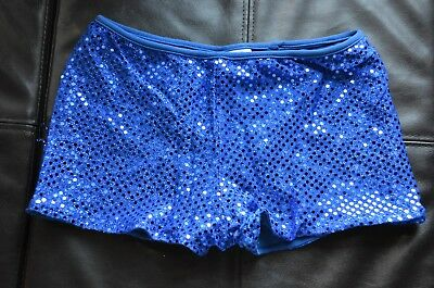 NWOT Booty Shorts Dance Gymnastics Cheer Blue Sequin Lot of 2 Youth M Spanx