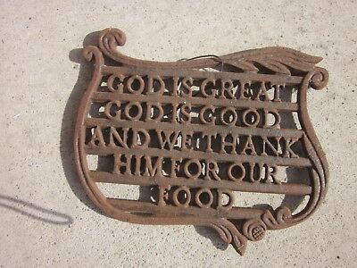 Lovely Cast Iron Trivet With Lord's Prayer Inside Scroll