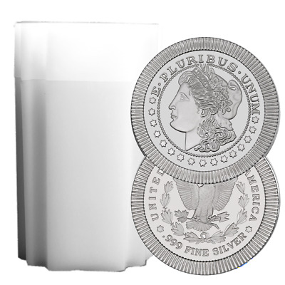 Daily Deal - Lot of 20 - 1 Troy oz Morgan Design .999 Fine Silver Round Full Rol