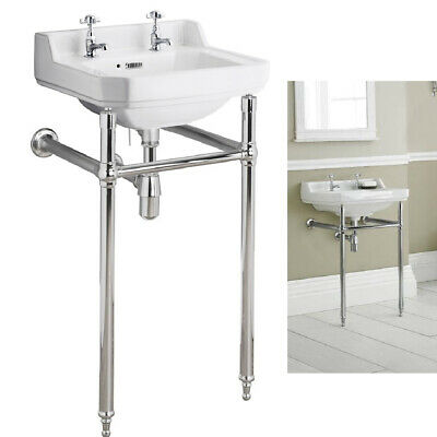 Traditional Luxury Chrome Washstand complete with 2 tap hole victorian basin 560