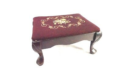 "Antique Footstool w/ Needlepoint top, Footstool, Queen Anne Foot Style 15.5""L"