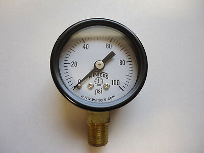 Winters 1/8 NPT Air Compressor / Hydraulic Pressure Gauge 0-100 PSI Side Mount