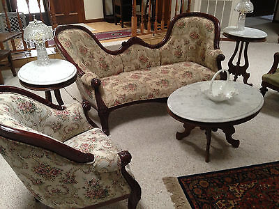 Antique Rosewood Couch, Chair, matching Chair and 3 Marble Mahogany tables