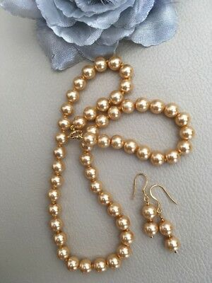"18"" Golden Shell Pearl Necklace & Earrings Yellow Gold on Sterling Silver"