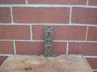 Vintage Ornate Brass Door Handle Plate With Skeleton Key Opening Marked 1860