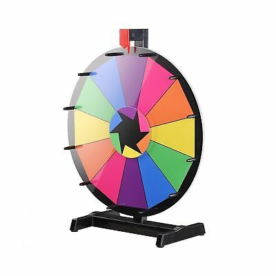 """WinSpin 18"""" Tabletop Editable Color Prize Wheel 12 Slot Spinning Game with Dr..."""
