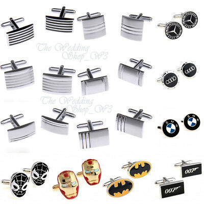 Business Silver Cufflinks Stainless Steel Mens Wedding Cuff Links