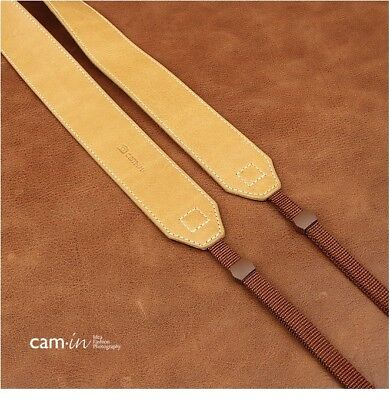Wide Light Tan Leather Adjustable DSLR Camera Strap by Cam-in