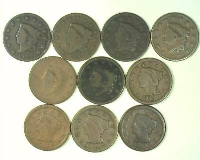 1822-1851 SET 10pc COLLECTOR LOT LARGE CENT SET *GOOD to VERY FINE* ~LC04
