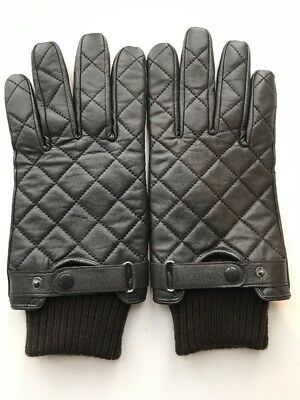 Barbour Men's Black Leather Quilted Gloves Size M