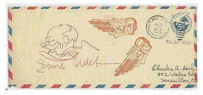 Ultra-Rare Ernst Udet Signed 1931 N.a.r.cover With Self Caricature In Cockpit
