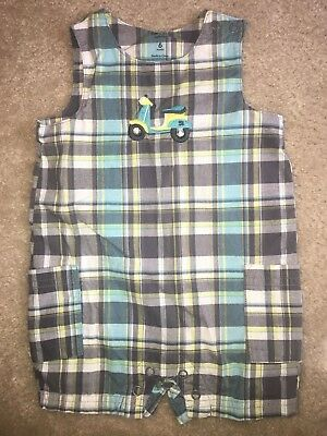 Baby Boys Size 6 Months Gray Blue White Green Plaid Bibs One Piece Scooter Carte