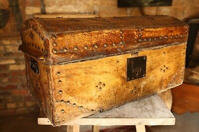19th century Leather/pony hide trunk