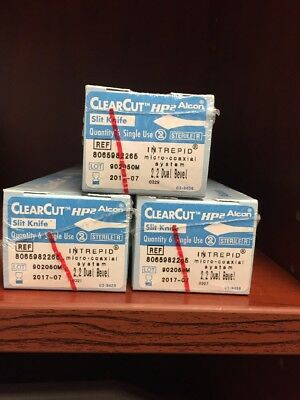 (Lot Of 18) Alcon 806582265 Intrepid Clear Cut Slit 2.2DB (out Of Date)
