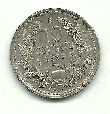 A Nice High Grade Au + 1939 Chile 10 Centavos Coin-Defiant Condor On Rock-Nov224