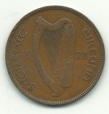 A Vintage Very Nice 1928 Ireland One 1 Penny Coin-Hens- Chicks-Birds-Apr200