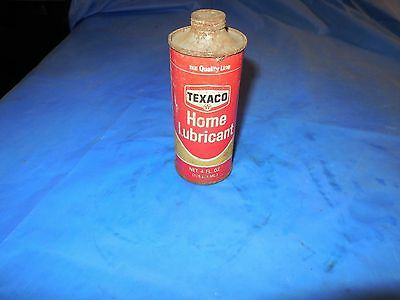 TEXACO HOME LUBRICANT 4oz.METAL CAN WITH SOME CONTENT!! SUPER DISPLAY ITEM!!