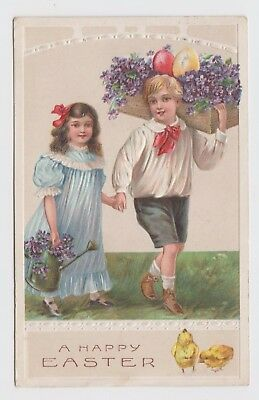 POSTCARD - children, boy girl easter greeting watering can chicks eggs, embossed