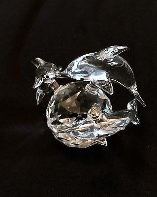 Crystal Glass Figurine of 3 Dolphins on a Prism Ball Sphere Collectible