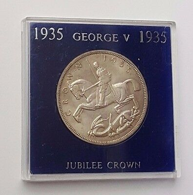 Dated : 1935 - Silver Coin - One Crown - King George V - Great Britain - Cased