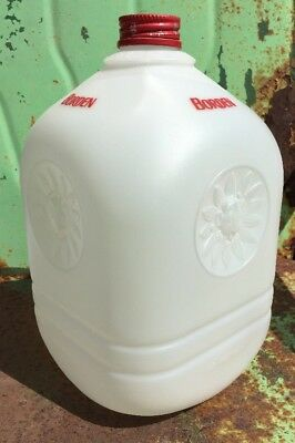 Vintage 1969 Borden Plastic Milk Jug Bottle with Metal Cap