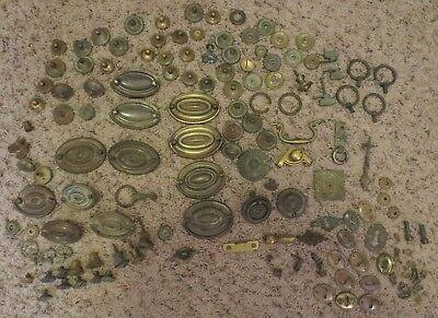 Large Lot Of Antique Brass Furniture Handles, Pull Knobs, Pull Rings, Etc.