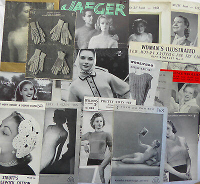 SELECTION OF 20 ORIGINAL VINTAGE LADIES KNITTING PATTERNS 40s and 50s.