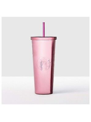 NEW STARBUCKS COLD CUP Berry Pink SHINY RARE STAINLESS STEEL TUMBLER 24 fl oz