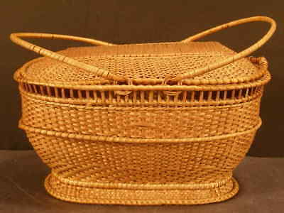 Antique 19c Sewing Hand Made Woven Splint Basket Work Nantucket Picnic Storage