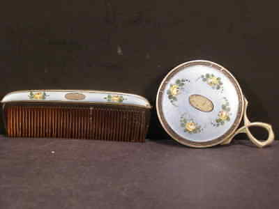 20s Guilloche Enamel Rose Painted Sterling Silver Comb Mirror Vanity Compact Set