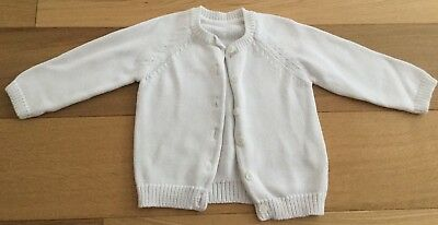 Baby Girls M&S White Cardigan - Size 9-12 Months