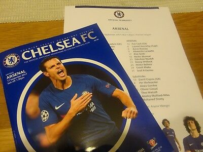 CHELSEA v ARSENAL-17 SEPT 2017-MATCHDAY PROGRAMME with MINT UNFOLDED TEAMSHEET