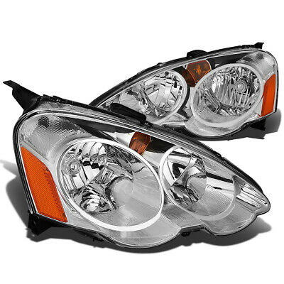 Fit 2002-2004 Acura RSX DC5 Pair Chrome Housing Amber Corner Headlight/Lamp Set