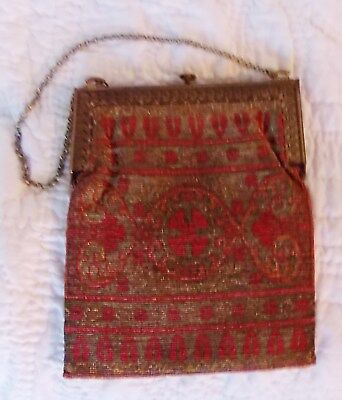 Great Antique Art Deco Micro Bead Purse With Silk Liner And Brass Frame