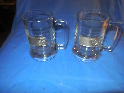 Bp Air Atlanta Two Unused Clear Glass Drinking Mugs With Bp Logo! 2 For One Bid!