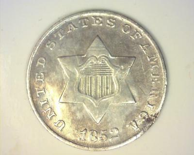 1852 Silver Three-Cent   About Uncirculated  ~399586-Nl4
