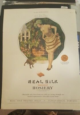 Original 1925 Advertising for Real Silk Hosiery Featuring Boston Terrier Puppy