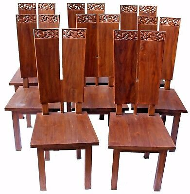 Vintage Mid-Century Scandinavian Hand-Carved Teak Dining Chairs - Set of Eight